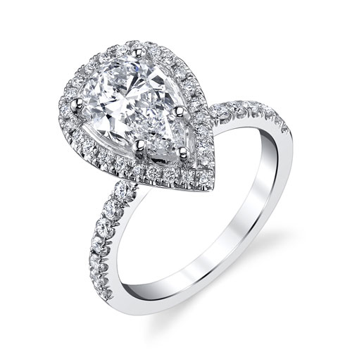 Halo Pear Shape Diamond Engagement Ring